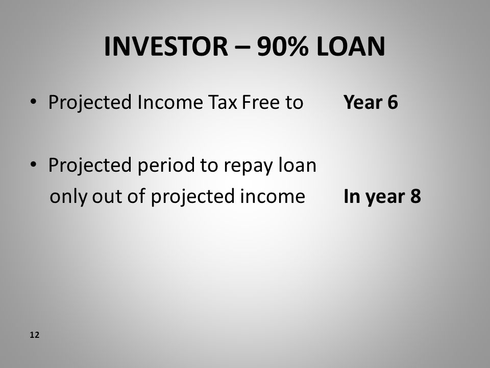 INVESTOR – 90% LOAN Projected Income Tax Free to Year 6 Projected period to repay loan only out of projected income In year 8 12