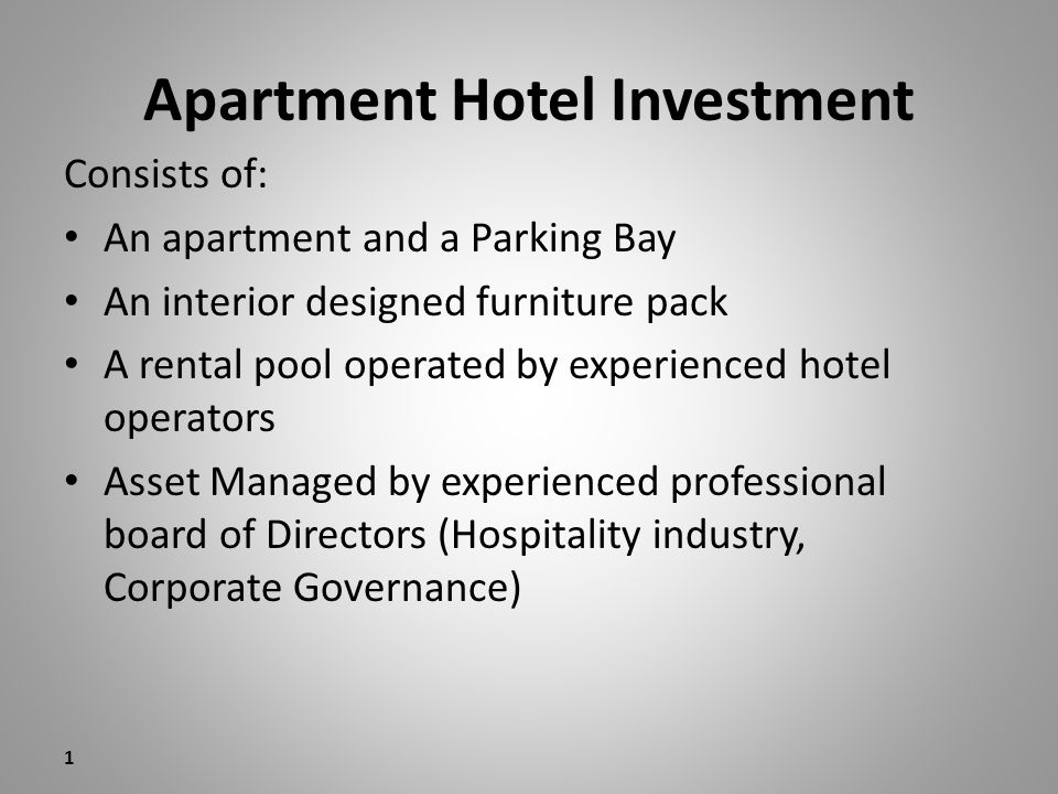 Payment terms Apartment & Parking Bay – 5% deposit : 7 days from signature – 5% deposit: 1 January 2009 – Balance of Purchase price on Transfer Furniture Pack – 50% : 1 July 2009 – 50%: 1 September 2009 2