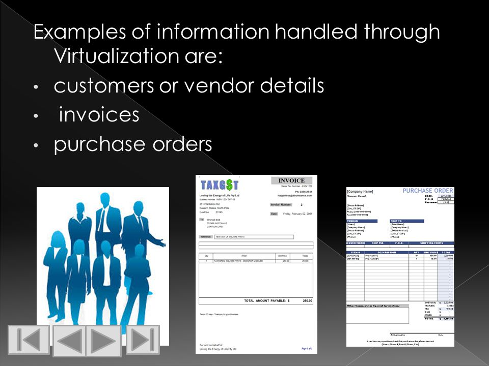 Examples of information handled through Virtualization are: customers or vendor details invoices purchase orders
