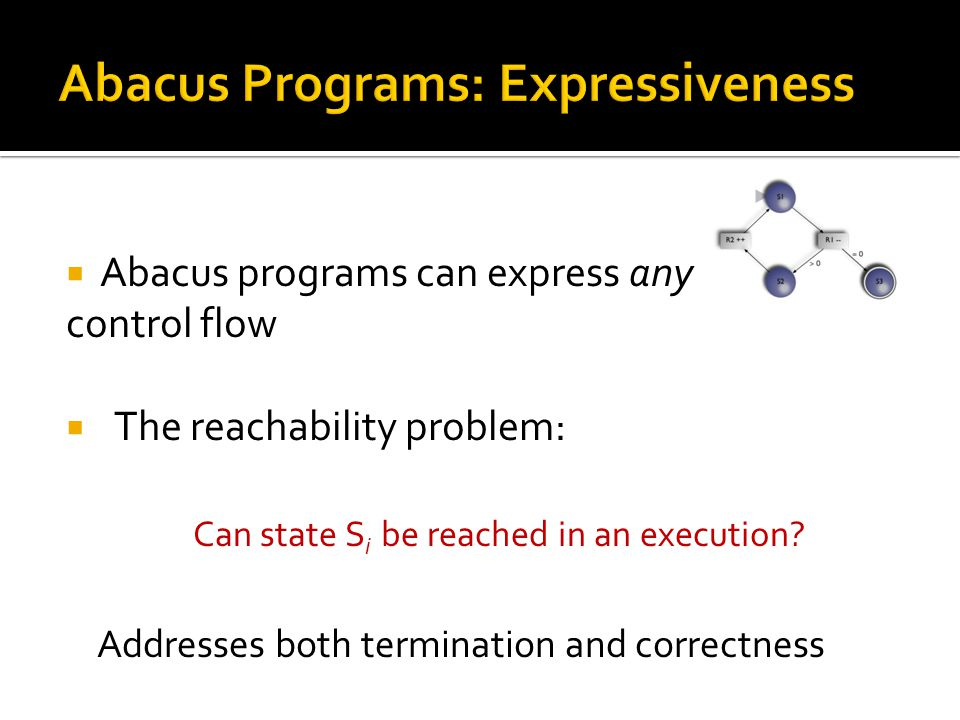  Abacus programs can express any control flow  The reachability problem: Can state S i be reached in an execution? Addresses both termination and co