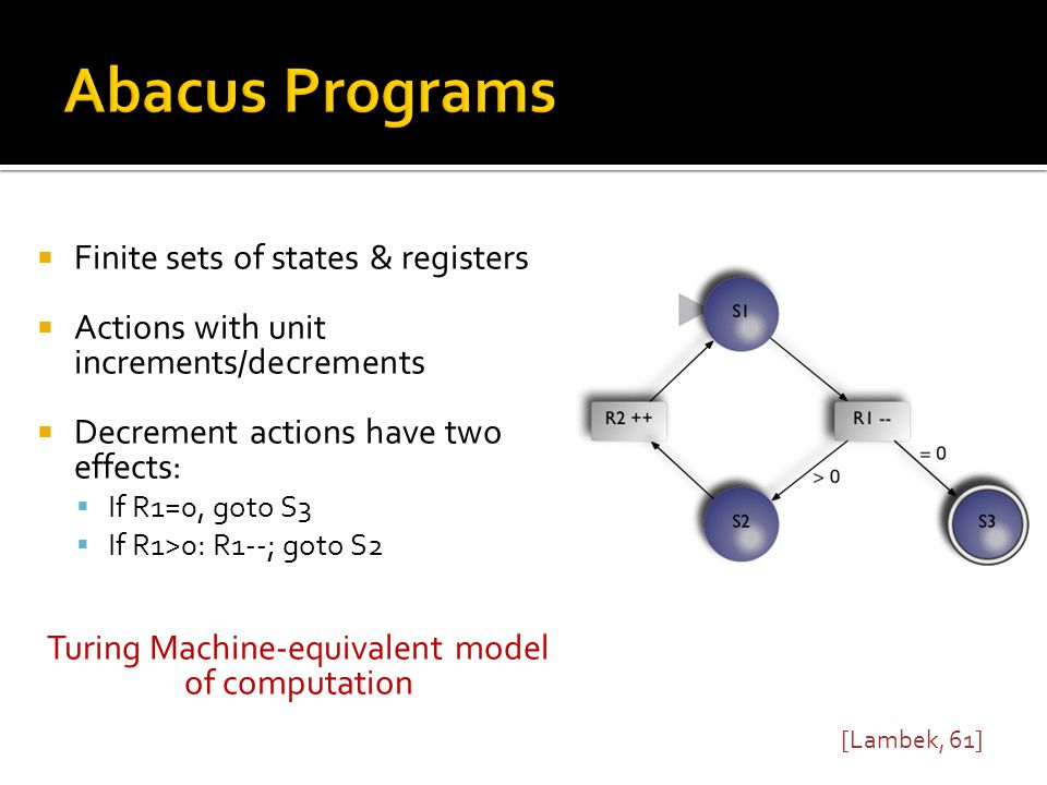  Abacus programs can express any control flow  The reachability problem: Can state S i be reached in an execution.