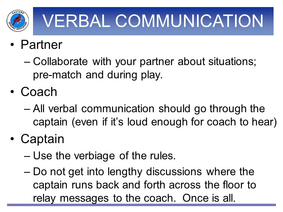 VERBAL COMMUNICATION Partner –Collaborate with your partner about situations; pre-match and during play.