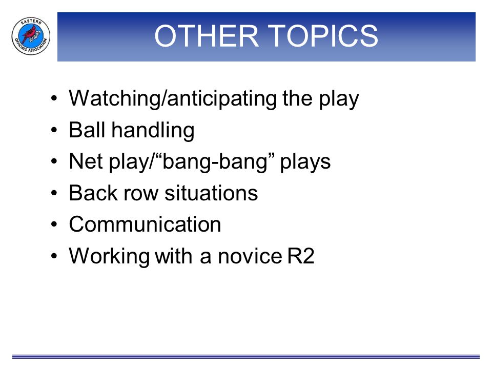 """OTHER TOPICS Watching/anticipating the play Ball handling Net play/""""bang-bang"""" plays Back row situations Communication Working with a novice R2"""