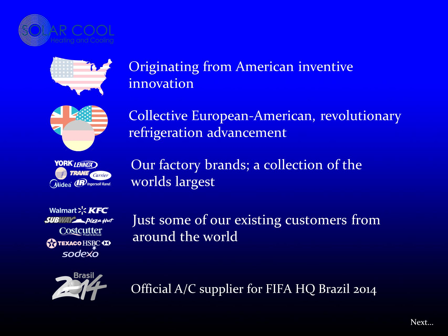 Collective European-American, revolutionary refrigeration advancement Our factory brands; a collection of the worlds largest Just some of our existing customers from around the world Official A/C supplier for FIFA HQ Brazil 2014 Originating from American inventive innovation Next…