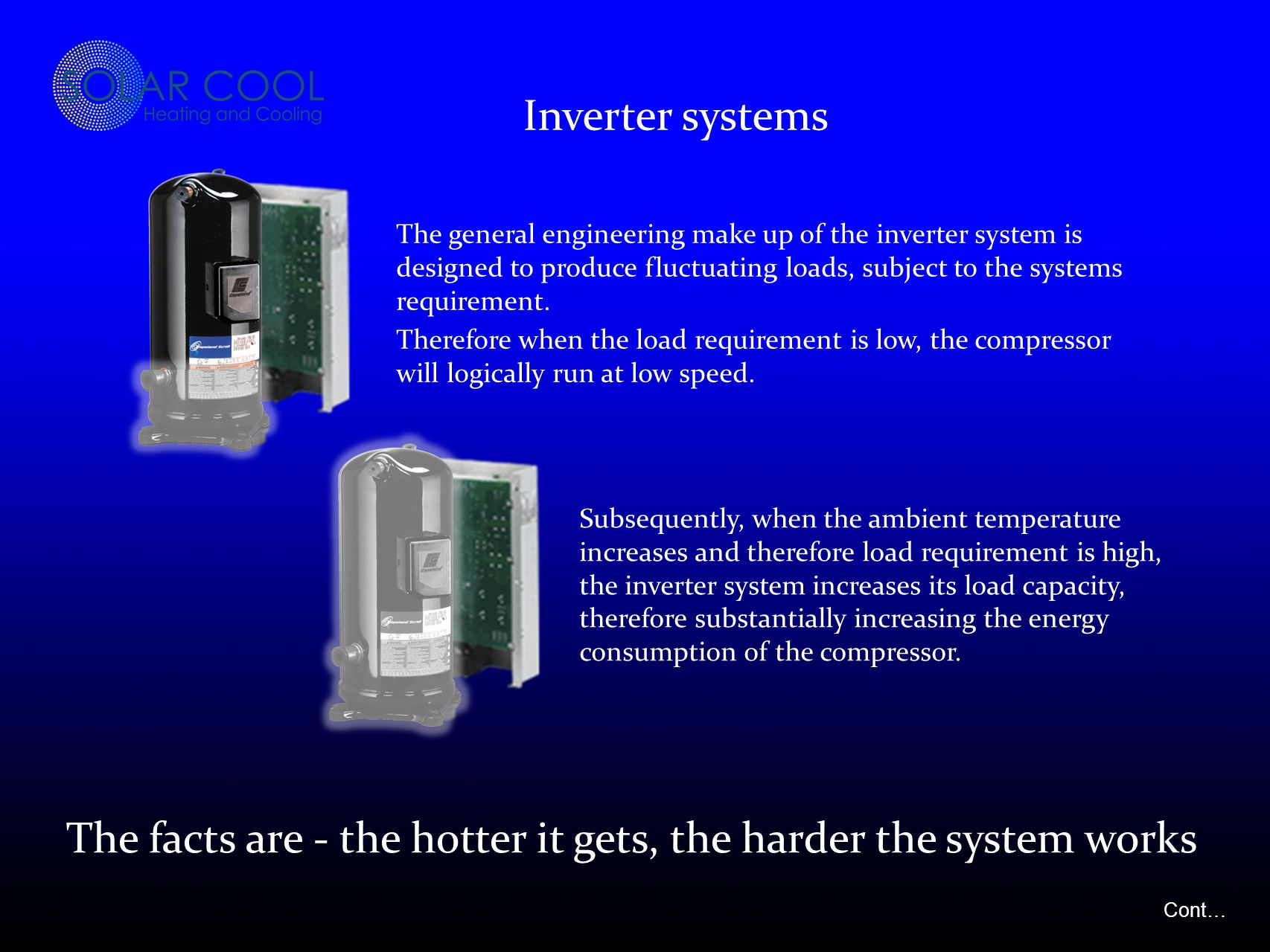 The general engineering make up of the inverter system is designed to produce fluctuating loads, subject to the systems requirement.