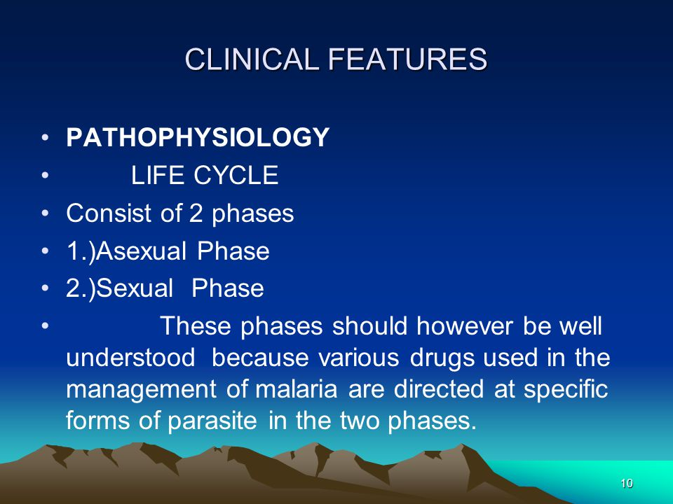 10 CLINICAL FEATURES PATHOPHYSIOLOGY LIFE CYCLE Consist of 2 phases 1.)Asexual Phase 2.)Sexual Phase These phases should however be well understood because various drugs used in the management of malaria are directed at specific forms of parasite in the two phases.