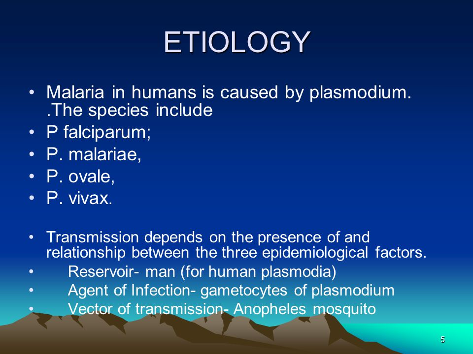 5 ETIOLOGY Malaria in humans is caused by plasmodium..The species include P falciparum; P.