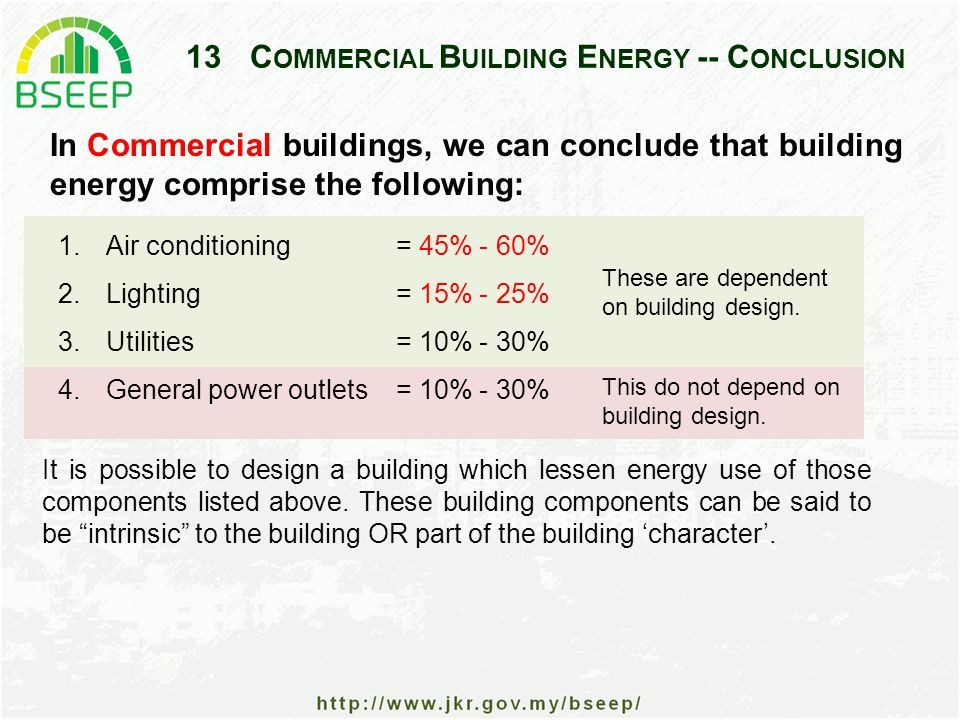 13C OMMERCIAL B UILDING E NERGY -- C ONCLUSION 1.Air conditioning = 45% - 60% 2.Lighting = 15% - 25% 3.Utilities = 10% - 30% 4.General power outlets = 10% - 30% These are dependent on building design.