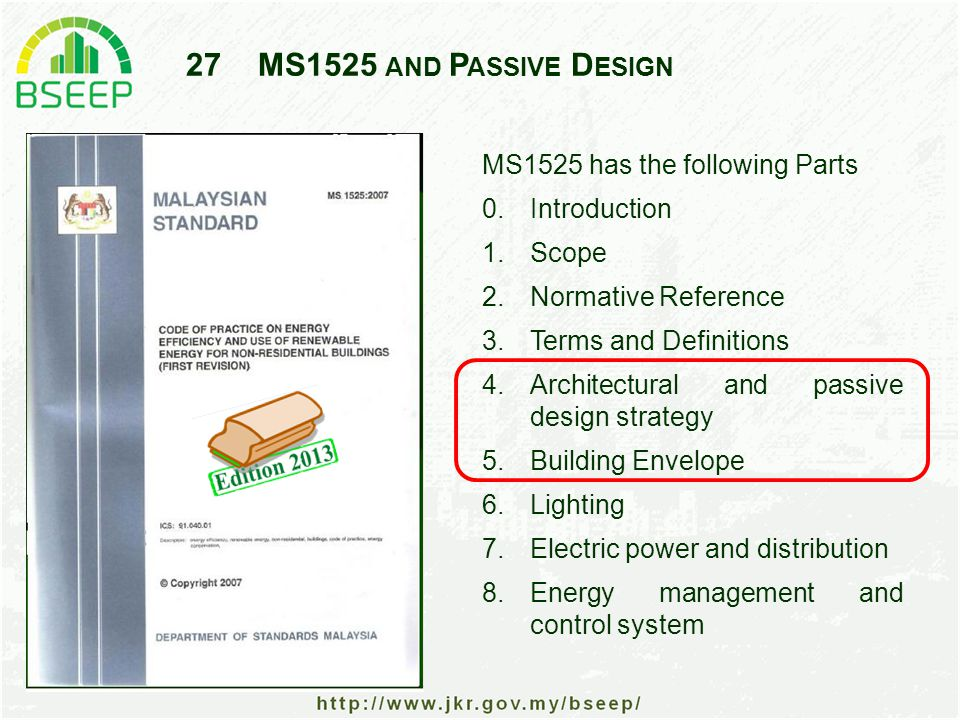 27MS1525 AND P ASSIVE D ESIGN MS1525 has the following Parts 0.Introduction 1.Scope 2.Normative Reference 3.Terms and Definitions 4.Architectural and passive design strategy 5.Building Envelope 6.Lighting 7.Electric power and distribution 8.Energy management and control system