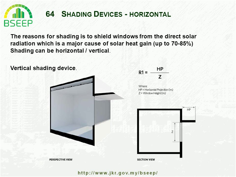 64S HADING D EVICES - HORIZONTAL The reasons for shading is to shield windows from the direct solar radiation which is a major cause of solar heat gain (up to 70-85%) Shading can be horizontal / vertical.