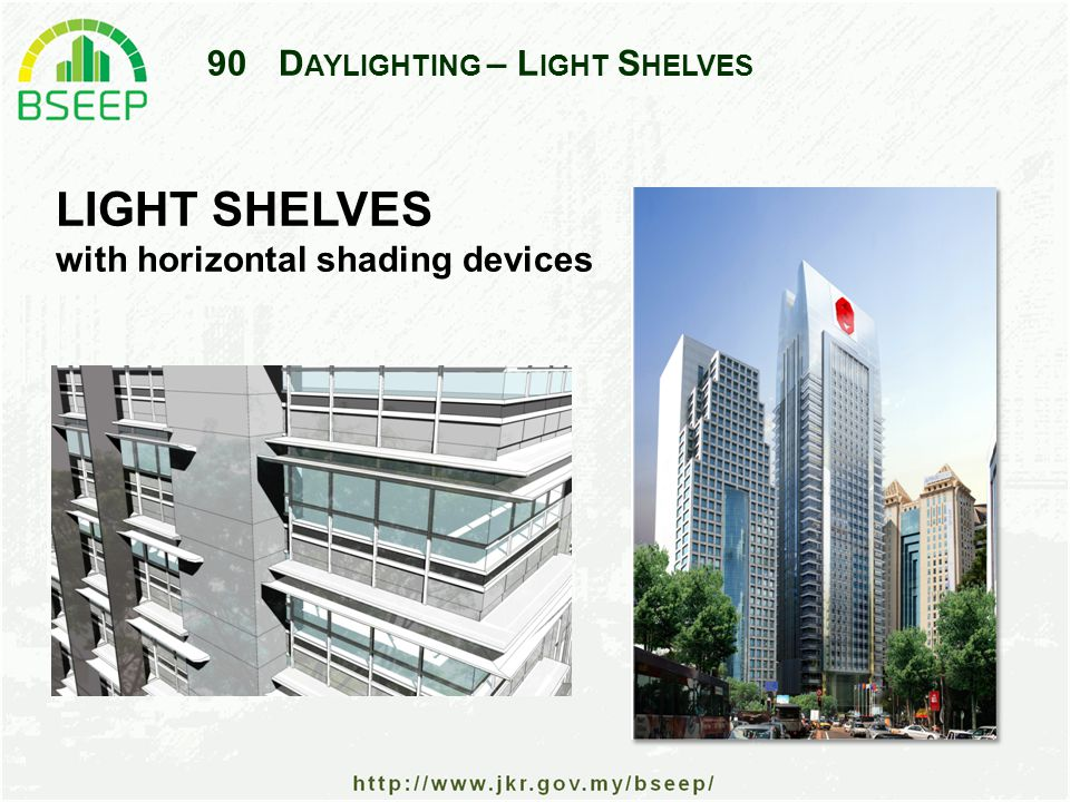90D AYLIGHTING – L IGHT S HELVES LIGHT SHELVES with horizontal shading devices