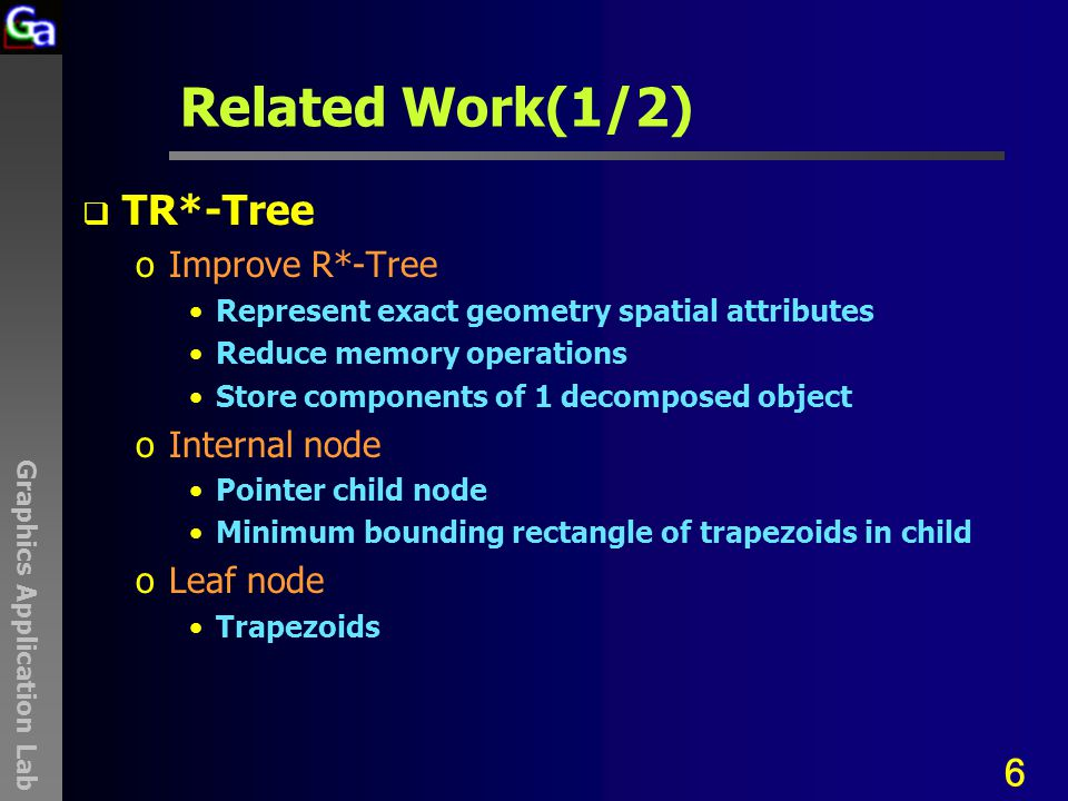 Graphics Application Lab Related Work(1/2)  TR*-Tree oImprove R*-Tree Represent exact geometry spatial attributes Reduce memory operations Store components of 1 decomposed object oInternal node Pointer child node Minimum bounding rectangle of trapezoids in child oLeaf node Trapezoids 6