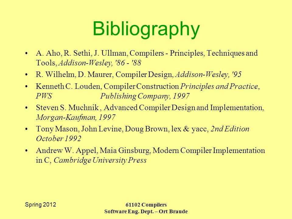 Spring 2012 61102 Compilers Software Eng. Dept. – Ort Braude Bibliography A.