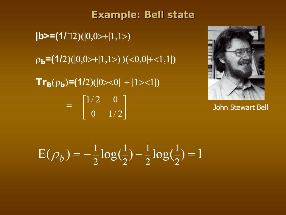 Example: Bell state |b>=(1/   b =(1/  Tr B  b  =(1/    John Stewart Bell