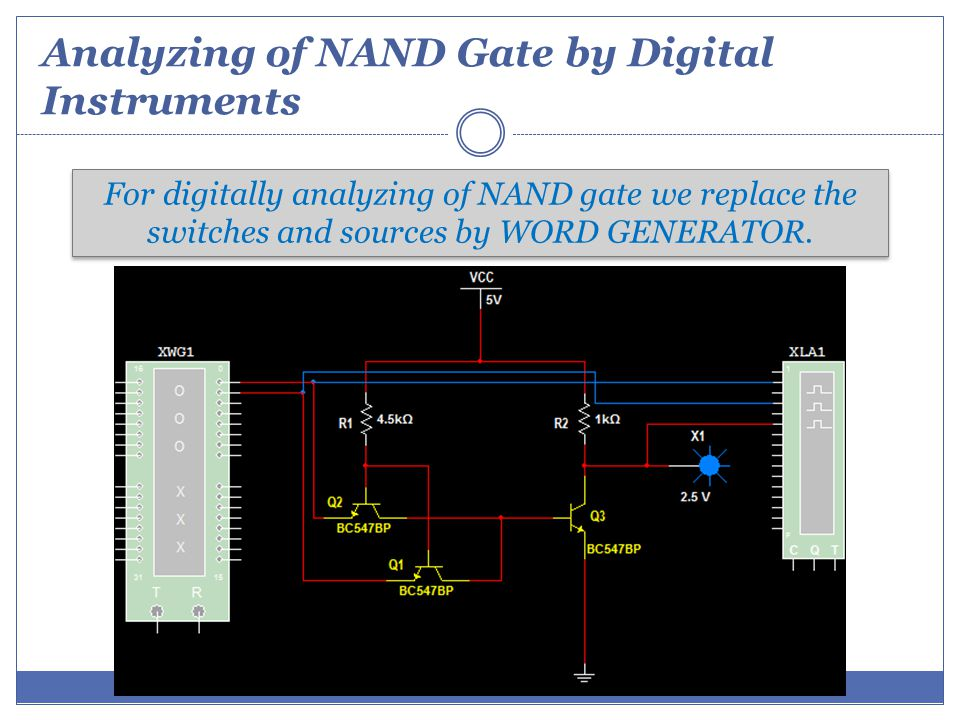 Analyzing of NAND Gate by Digital Instruments For digitally analyzing of NAND gate we replace the switches and sources by WORD GENERATOR.