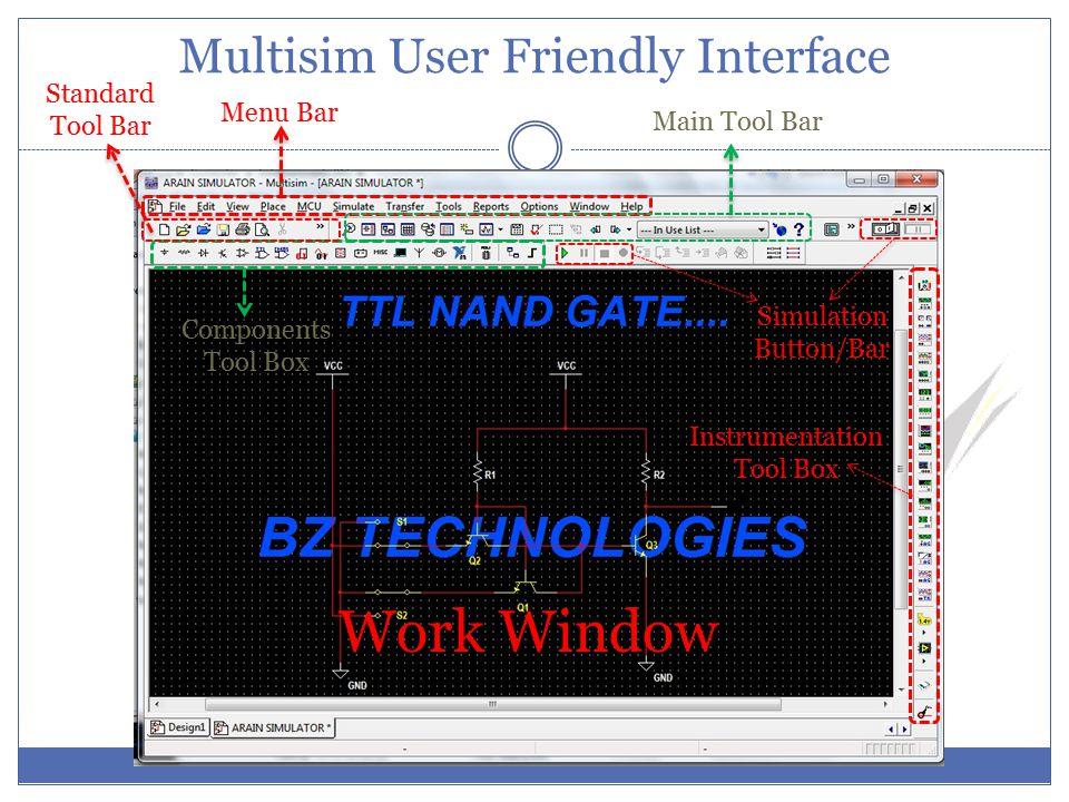 Multisim User Friendly Interface Menu Bar Components Tool Box Main Tool Bar Standard Tool Bar Simulation Button/Bar Work Window Instrumentation Tool Box