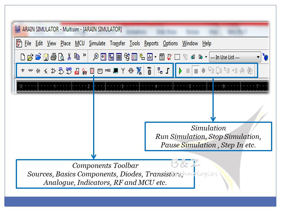 Components Toolbar Sources, Basics Components, Diodes, Transistors, Analogue, Indicators, RF and MCU etc.