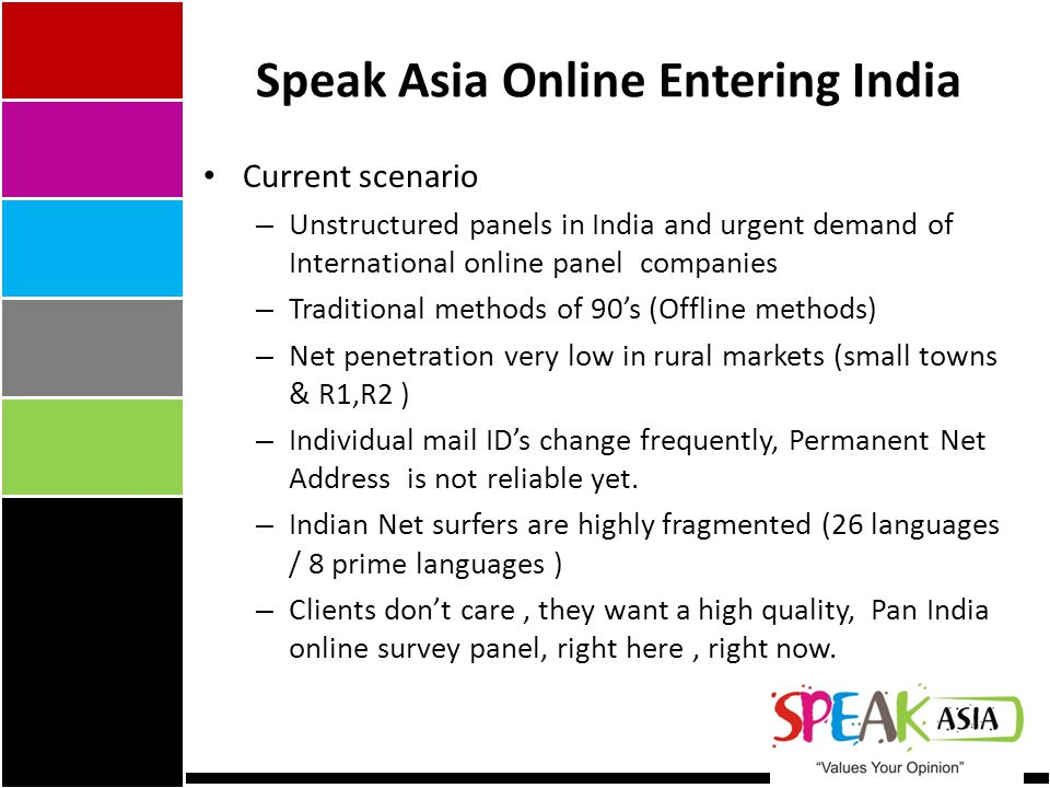 Speak Asia Online Entering India Current scenario – Unstructured panels in India and urgent demand of International online panel companies – Traditional methods of 90's (Offline methods) – Net penetration very low in rural markets (small towns & R1,R2 ) – Individual mail ID's change frequently, Permanent Net Address is not reliable yet.