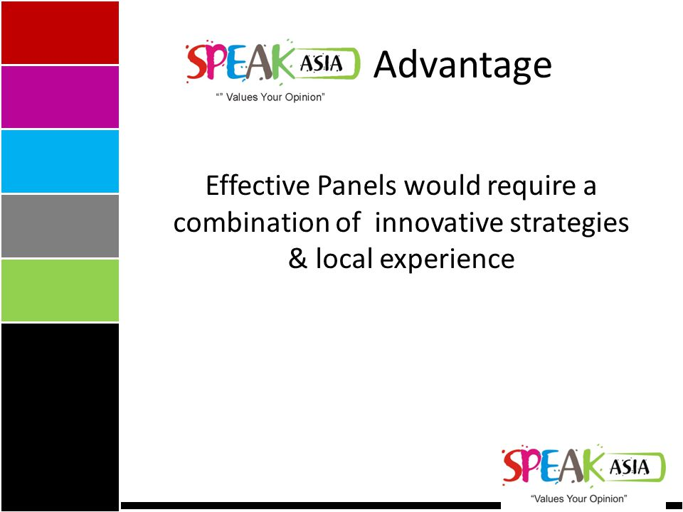Advantage Effective Panels would require a combination of innovative strategies & local experience