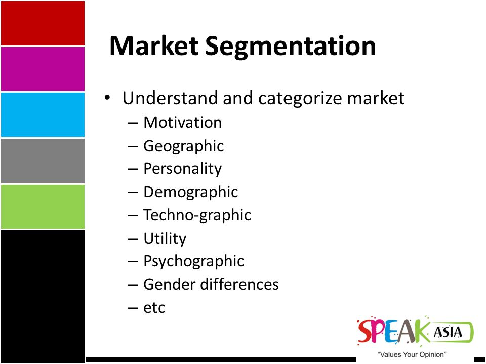 Market Segmentation Understand and categorize market – Motivation – Geographic – Personality – Demographic – Techno-graphic – Utility – Psychographic – Gender differences – etc