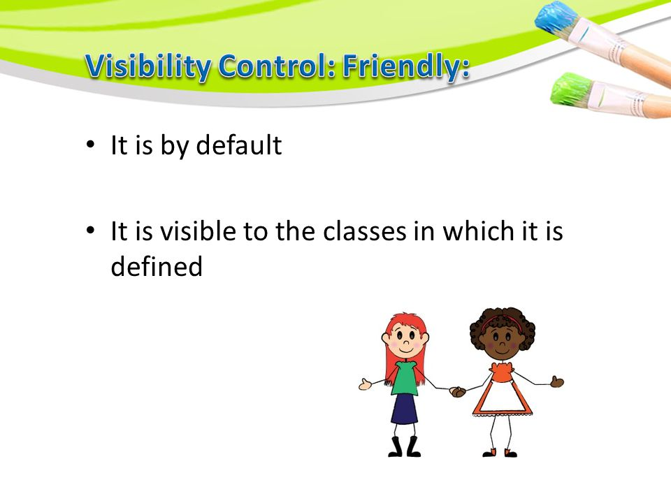 It is by default It is visible to the classes in which it is defined
