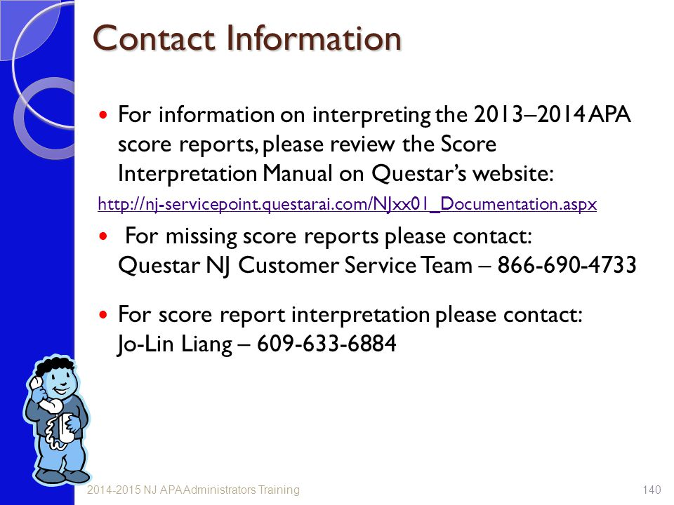 Contact Information For information on interpreting the 2013–2014 APA score reports, please review the Score Interpretation Manual on Questar's websit