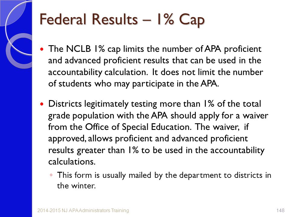 Federal Results – 1% Cap The NCLB 1% cap limits the number of APA proficient and advanced proficient results that can be used in the accountability ca