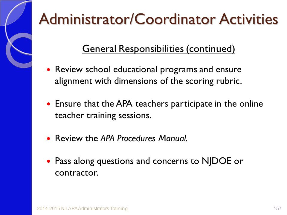 Administrator/Coordinator Activities General Responsibilities (continued) Review school educational programs and ensure alignment with dimensions of t