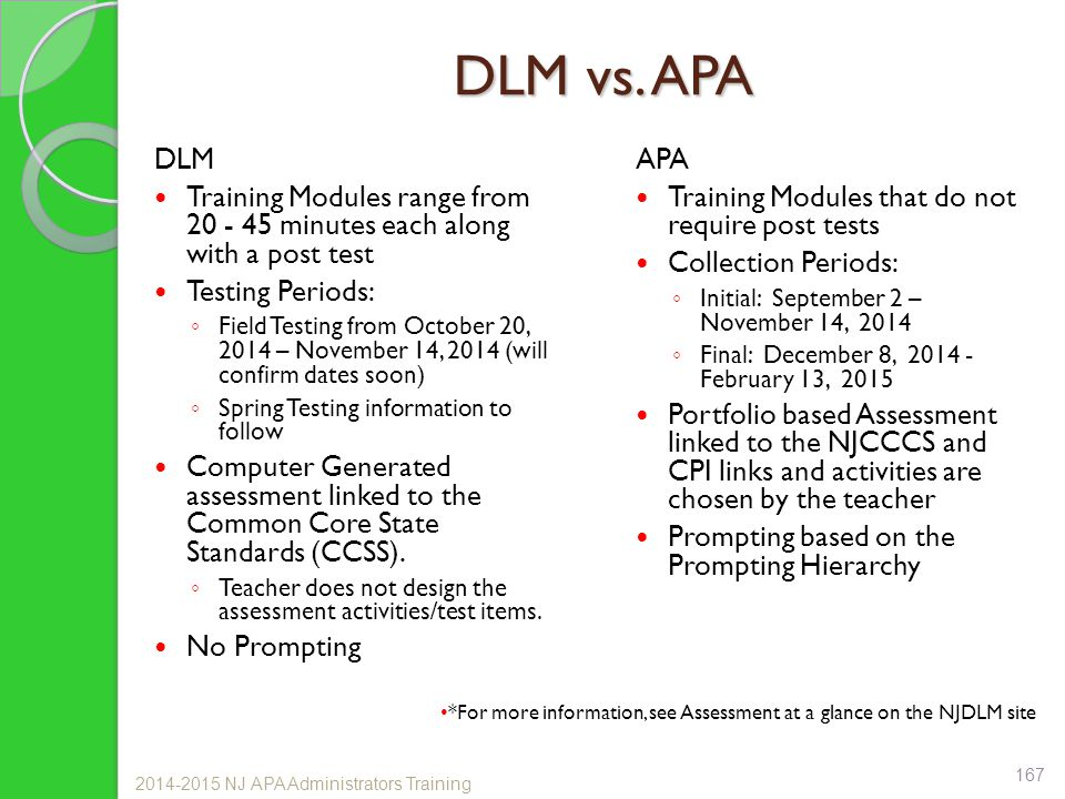 DLM vs. APA DLM Training Modules range from 20 - 45 minutes each along with a post test Testing Periods: ◦ Field Testing from October 20, 2014 – Novem