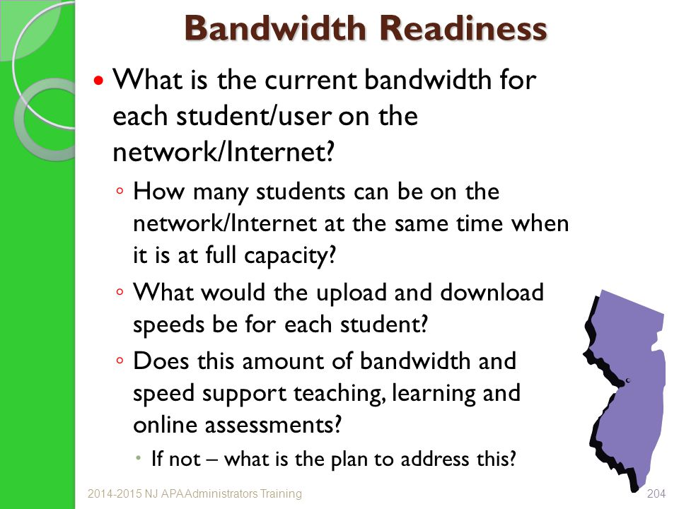 Bandwidth Readiness What is the current bandwidth for each student/user on the network/Internet? ◦ How many students can be on the network/Internet at