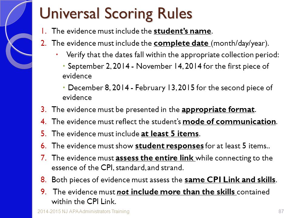 Universal Scoring Rules 1.The evidence must include the student's name. 2.The evidence must include the complete date (month/day/year).  Verify that