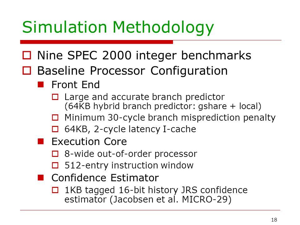 18 Simulation Methodology  Nine SPEC 2000 integer benchmarks  Baseline Processor Configuration Front End  Large and accurate branch predictor (64KB