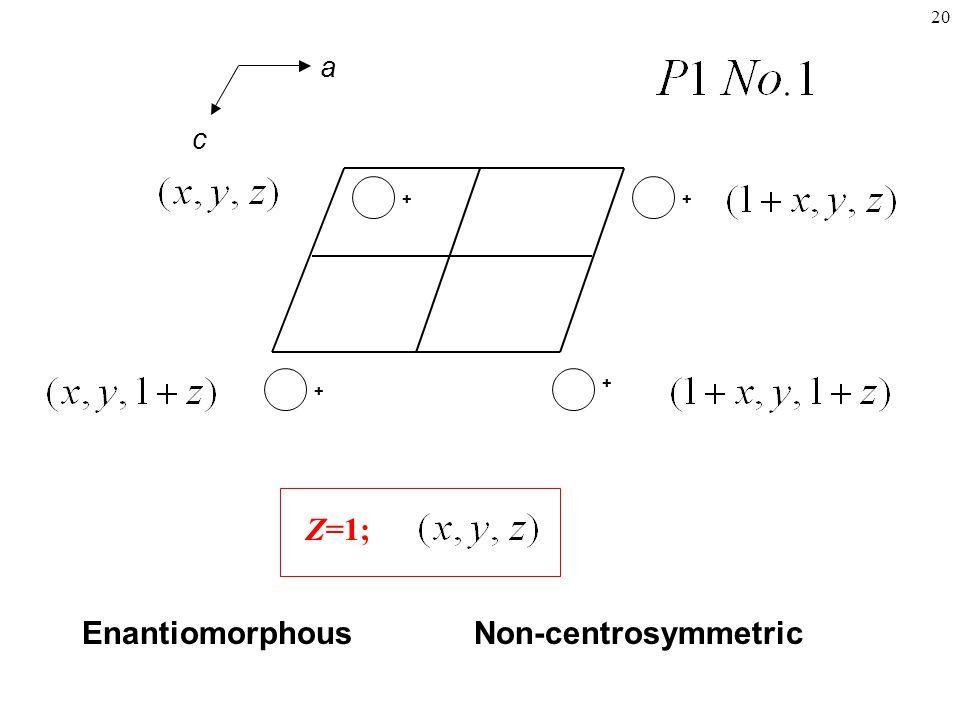 20 + + + + Z=1; EnantiomorphousNon-centrosymmetric a c