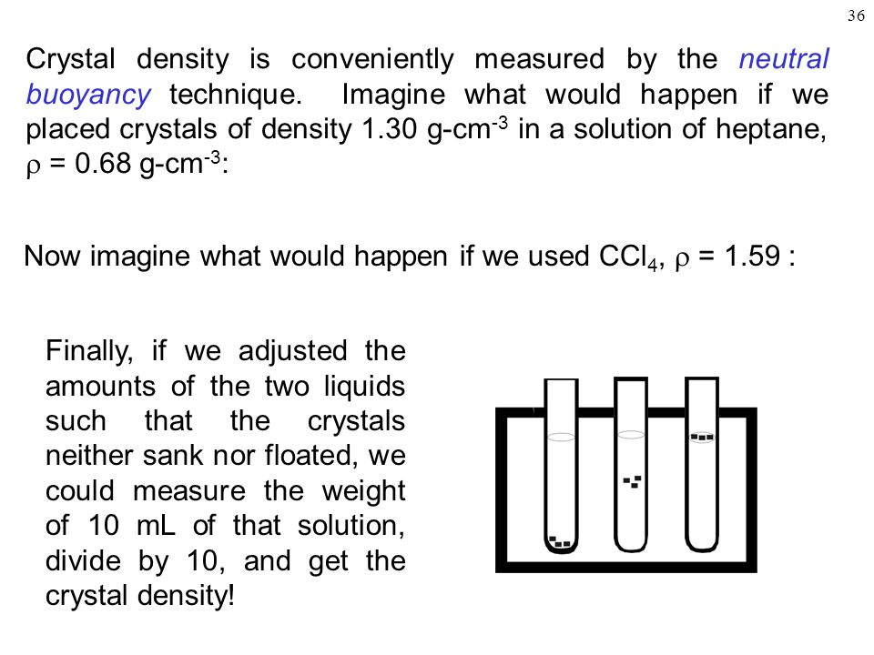 36 Crystal density is conveniently measured by the neutral buoyancy technique.