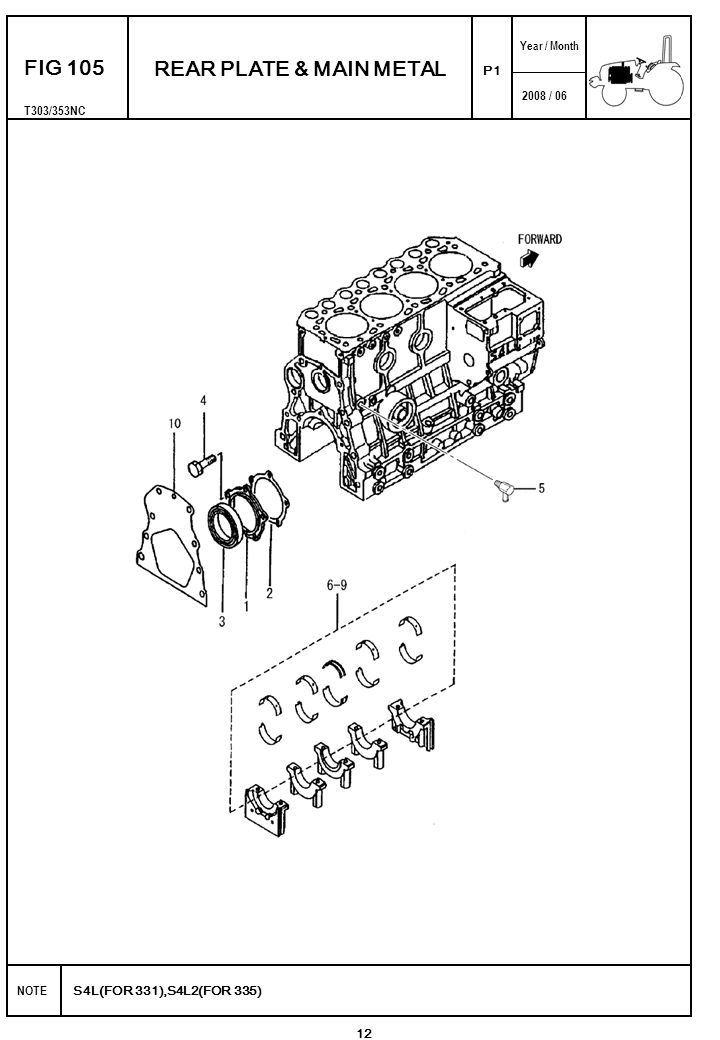 2008 / 06 NOTE Year / Month S4L(FOR 331),S4L2(FOR 335) T303/353NC P1 FIG 116 FUEL INJECTION PUMP 34