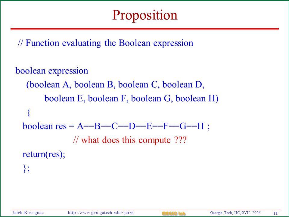 11 Georgia Tech, IIC, GVU, 2006 MAGIC Lab http://www.gvu.gatech.edu/~jarekJarek Rossignac Proposition // Function evaluating the Boolean expression boolean expression (boolean A, boolean B, boolean C, boolean D, boolean E, boolean F, boolean G, boolean H) { boolean res = A==B==C==D==E==F==G==H ; // what does this compute .