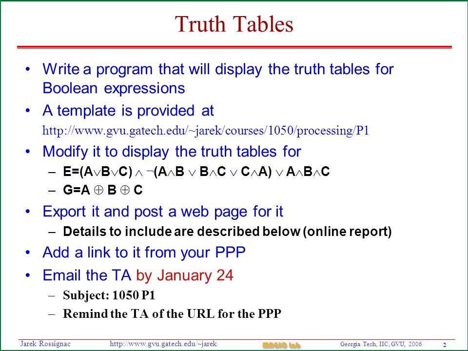 2 Georgia Tech, IIC, GVU, 2006 MAGIC Lab http://www.gvu.gatech.edu/~jarekJarek Rossignac Truth Tables Write a program that will display the truth tables for Boolean expressions A template is provided at http://www.gvu.gatech.edu/~jarek/courses/1050/processing/P1 Modify it to display the truth tables for –E=(A  B  C)  ¬ (A  B  B  C  C  A)  A  B  C –G=A  B  C Export it and post a web page for it –Details to include are described below (online report) Add a link to it from your PPP Email the TA by January 24 –Subject: 1050 P1 –Remind the TA of the URL for the PPP