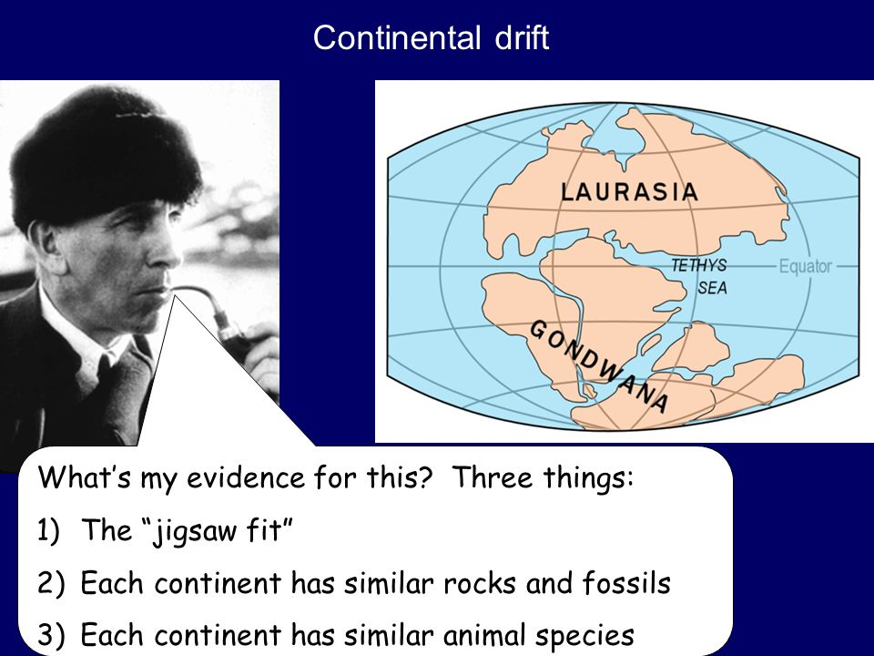 Continental drift What's my evidence for this.
