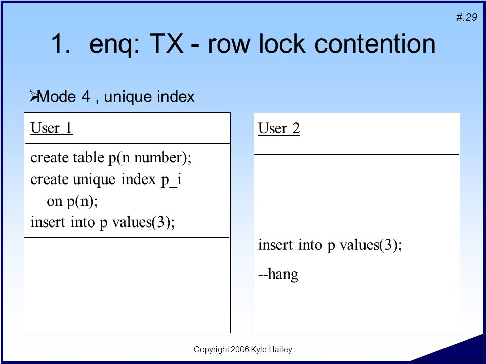 #.29 Copyright 2006 Kyle Hailey 1.enq: TX - row lock contention User 1 create table p(n number); create unique index p_i on p(n); insert into p values
