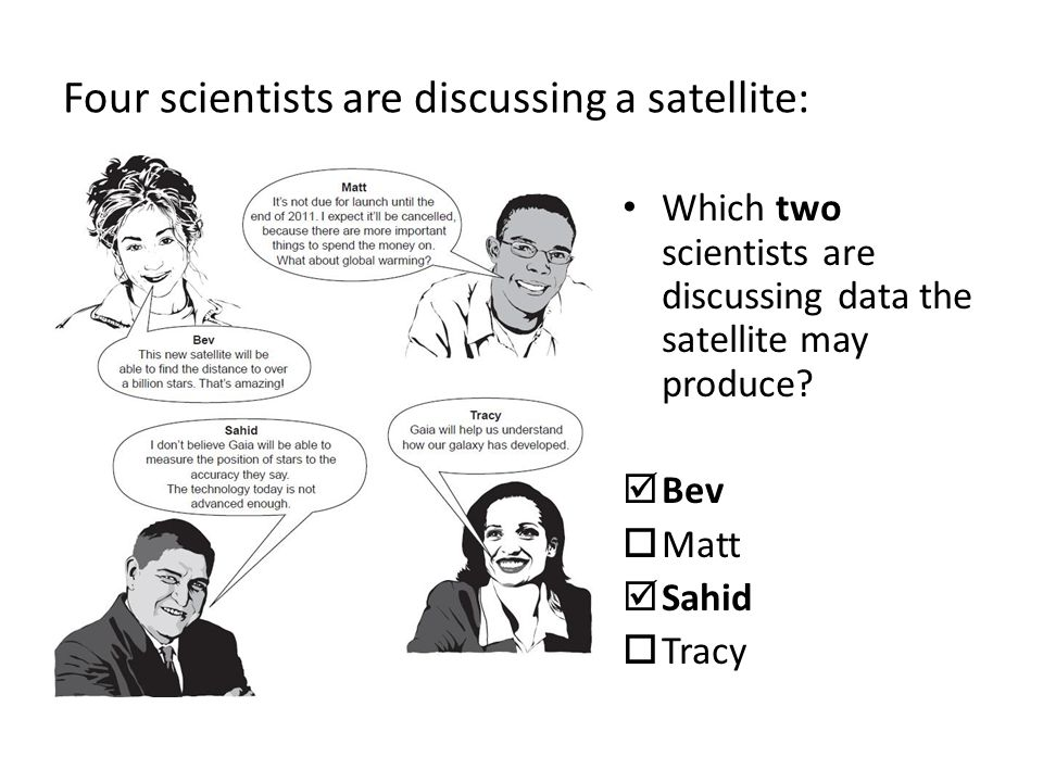 Four scientists are discussing a satellite: Which two scientists are discussing data the satellite may produce.