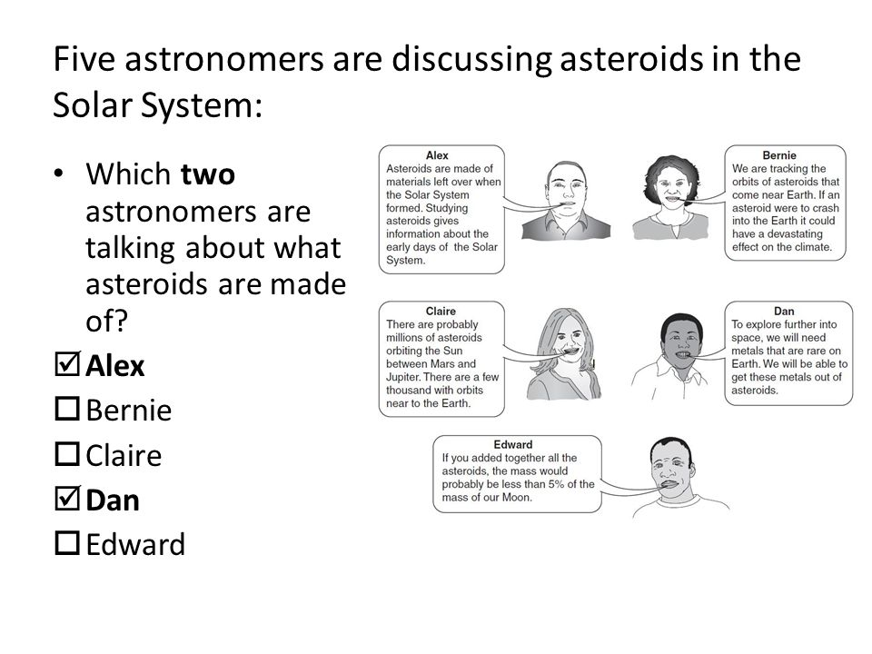 Five astronomers are discussing asteroids in the Solar System: Which two astronomers are talking about what asteroids are made of.