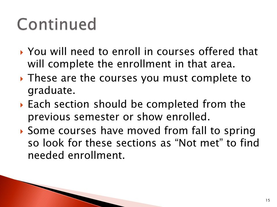  You will need to enroll in courses offered that will complete the enrollment in that area.