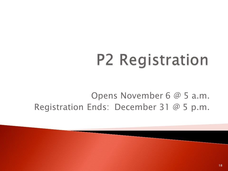 Opens November 6 @ 5 a.m. Registration Ends: December 31 @ 5 p.m. 18