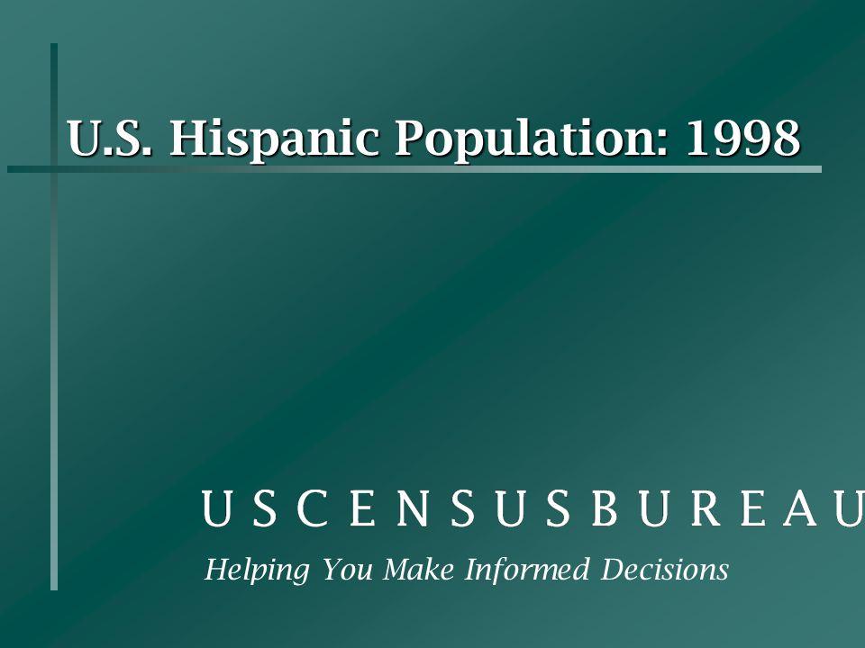 U.S. Hispanic Population: 1998 Helping You Make Informed Decisions