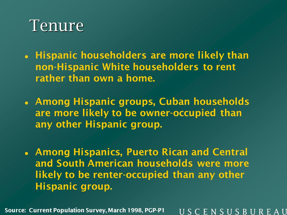 Tenure Among Hispanic groups, Cuban households are more likely to be owner-occupied than any other Hispanic group. Among Hispanics, Puerto Rican and C