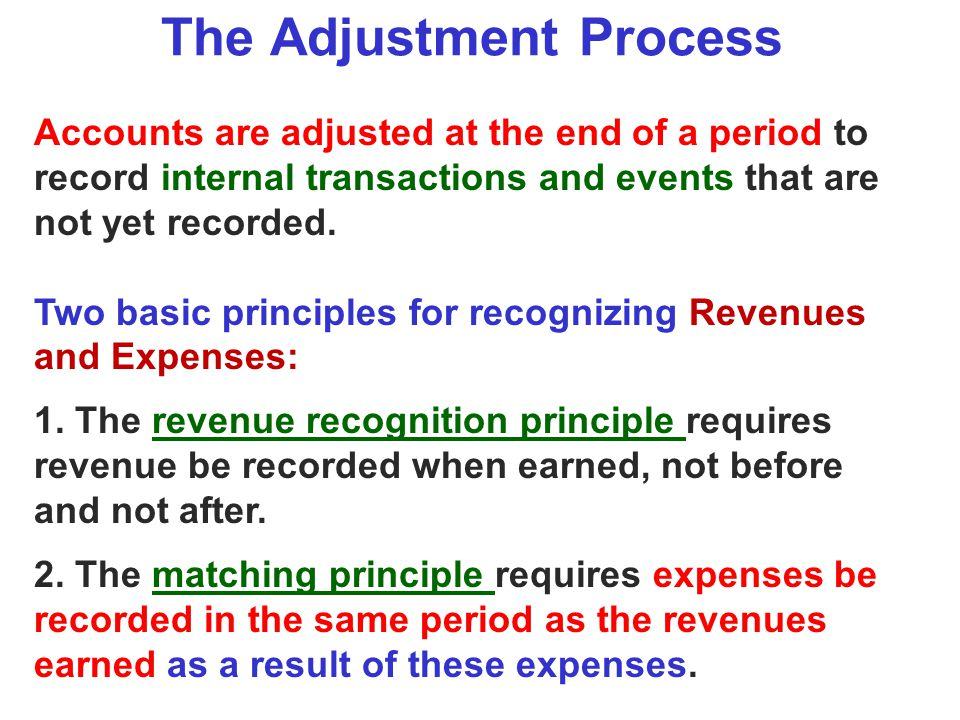 The Adjustment Process Accounts are adjusted at the end of a period to record internal transactions and events that are not yet recorded. Two basic pr