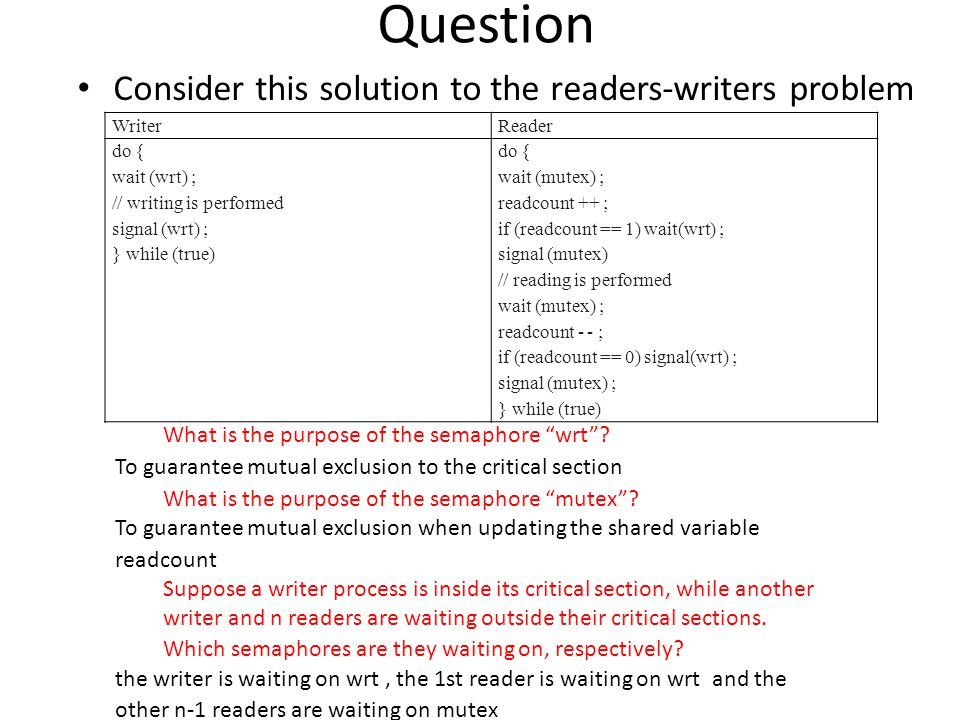 Question Consider this solution to the readers-writers problem WriterReader do { wait (wrt) ; // writing is performed signal (wrt) ; } while (true) do