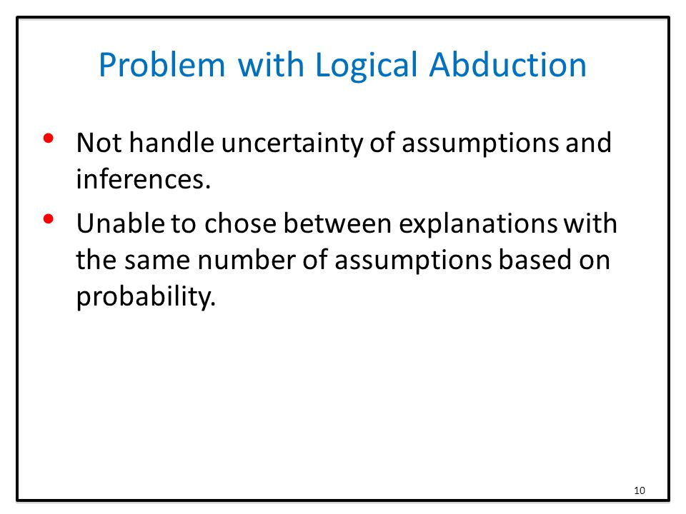 Problem with Logical Abduction Not handle uncertainty of assumptions and inferences.