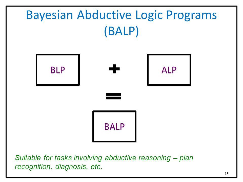 Bayesian Abductive Logic Programs (BALP) BLP ALP BALP Suitable for tasks involving abductive reasoning – plan recognition, diagnosis, etc.