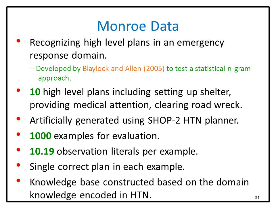 Monroe Data Recognizing high level plans in an emergency response domain.